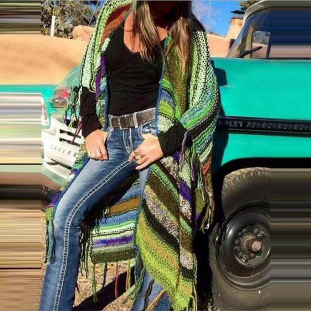 Women Color-Block Fringe Hem Weatern Cardigans