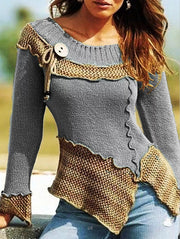 Women's retro stitching round neck long-sleeved sweater