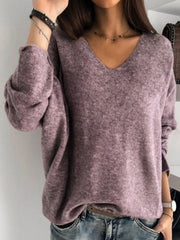 Women's V Neck Long Sleeve Plus Size Slim Fit Casual Pullover Sweater