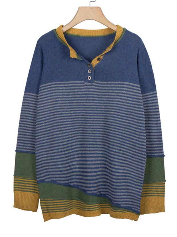 Women Color-Block Striped Pullover Vintage Sweater
