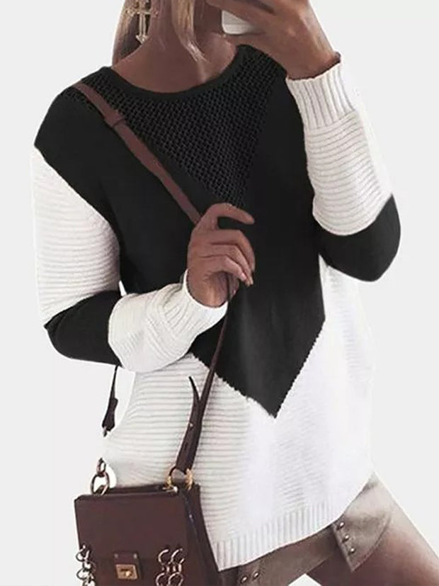 Women'S Patchwork Long Sleeve Contrast Stitching knit sweater