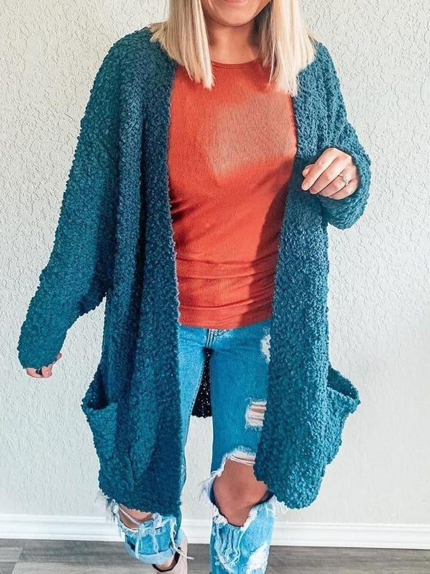 Teal Popcorn Knit Cardigan