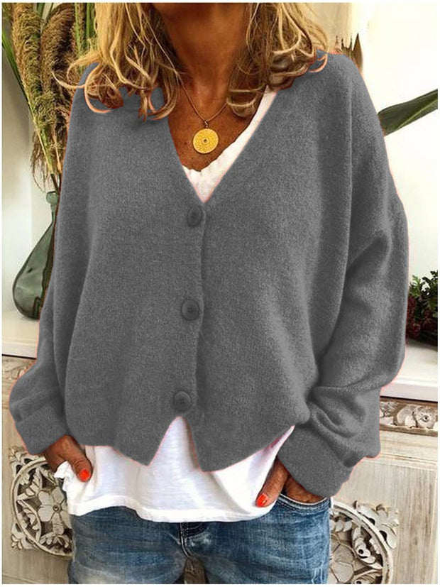 Women's casual loose knit cardigan sweater