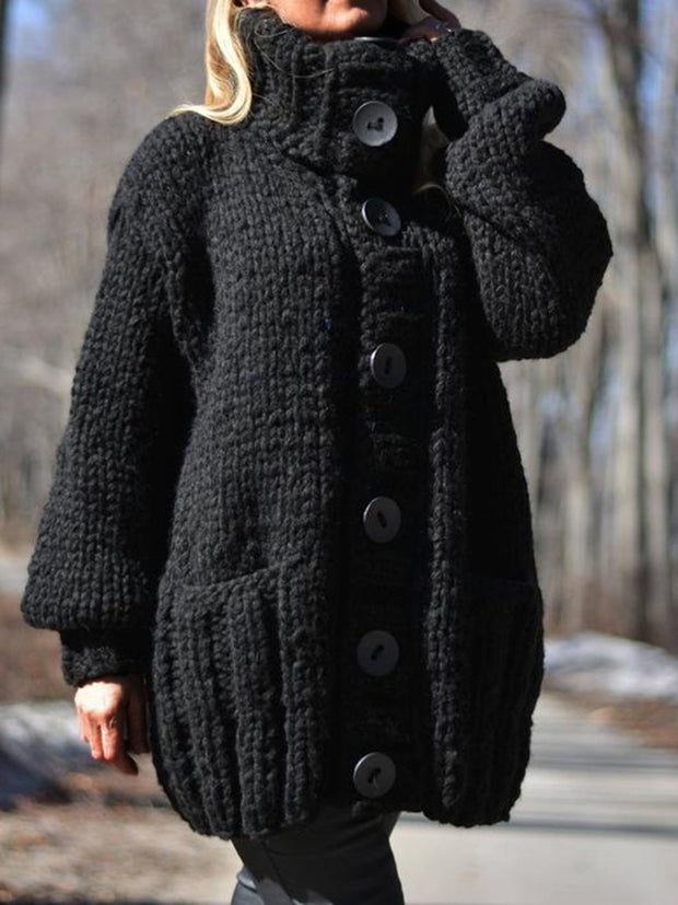 Women Black Sweater Pockets Button Closure Lapel Knitted Coats