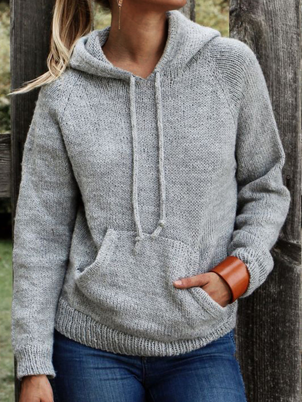 Women Sweater Pockets Drawstring Knitted Hoodie Sweatshirts