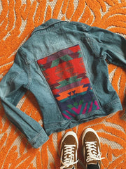Aztec Printed Pockets Women Denim Jackets
