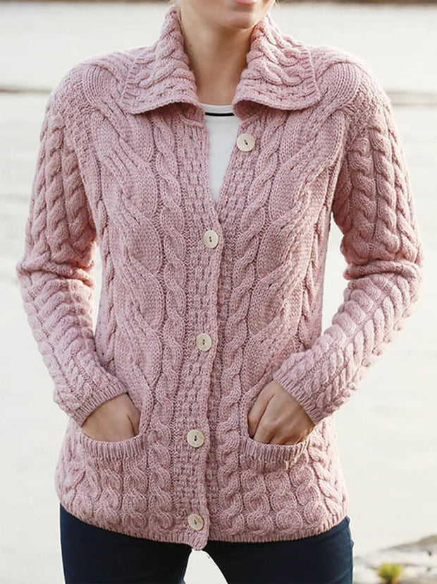 Solid Jacquard Pockets Women Knitted Outerwears