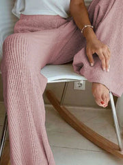 Women Wide Leg Solid Casual Knitted Pants