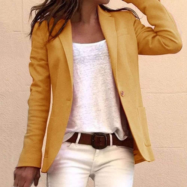 Women Casual Pure Long sleeve Pocket Blazer