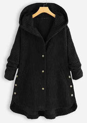 Corduroy Solid Color Button Long-sleeved Hooded Jacket