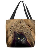 Women's black cat royal tote bag