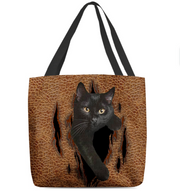 Women's cat leather print series shoulder bag