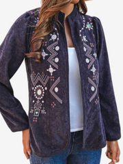 Women Corduroy Embroidered Stand Collar Long Sleeve Vintage Jacket