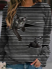 Cat Pattern Long Sleeve Striped Blouses Shirts