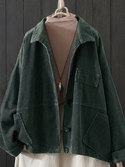 Long sleeve solid color corduroy jacket