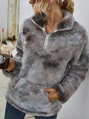 Fashion Autumn And Winter Oil Painting Fleece High Neck Zipper Sweater