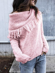 New Shawl-style Fringed Collar Long Sleeved Sweater