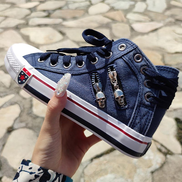 Women's Denim High-Top Back Lace-Up Design Canvas Sneaker Shoes