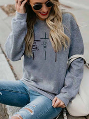 Women's Faith Hope Love Print Sweatshirt