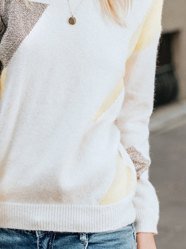 Beige long sleeve crew neck sweater
