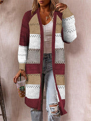 Color Block Knitted Cardigan Multicolor Sweater Jacket