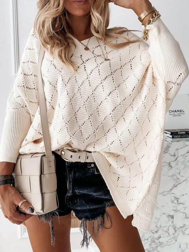 Long Sleeve V Neck Geometric Casual Sweater
