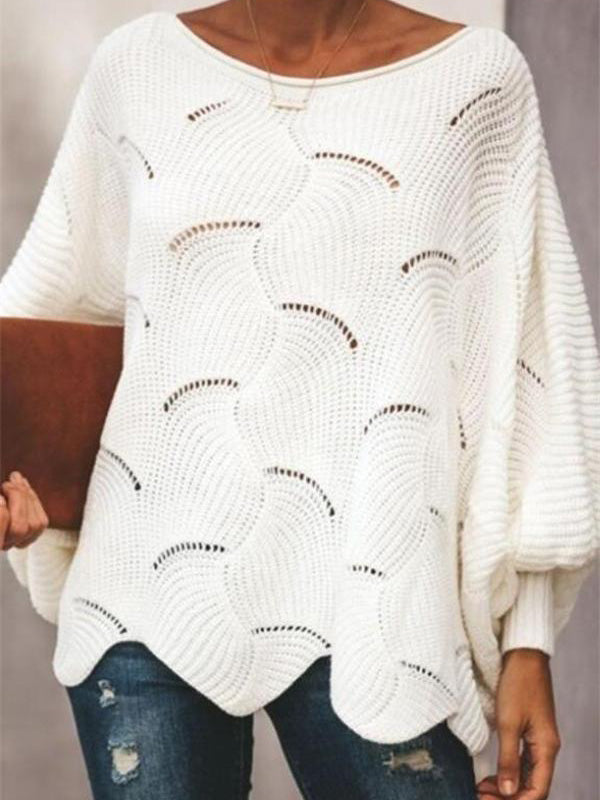 Hollow Batwing Sleeve Wave Hem Sweater