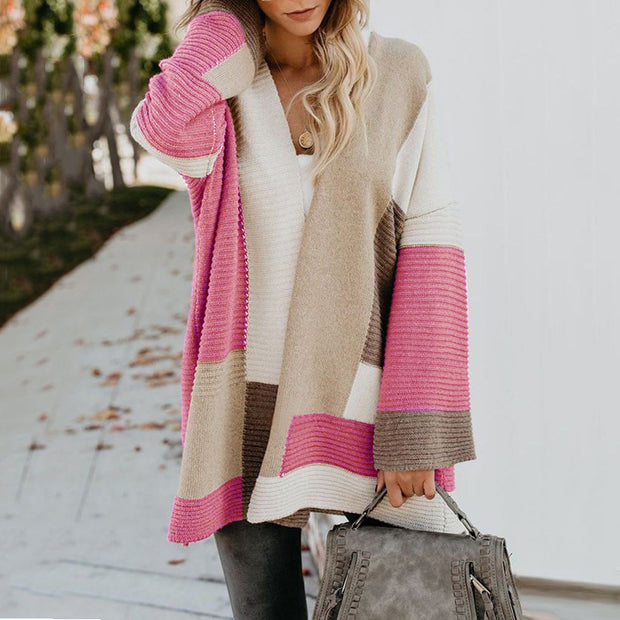 Women Plus Size Geometric Colorblock Sweater Cardigan Coat