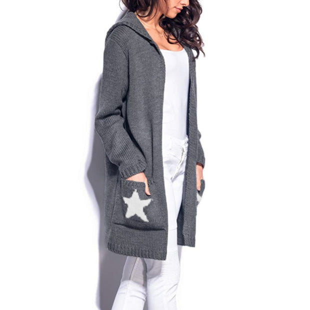 Women Knit Sweater Long Big Pocket Five-pointed Star Hooded Sweater Cardigan