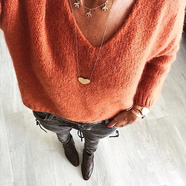 Woman Wool blend Casual V Neck Plain Sweater