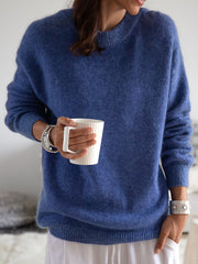 Blue Round Neck Knitted Cotton Long Sleeve Sweater