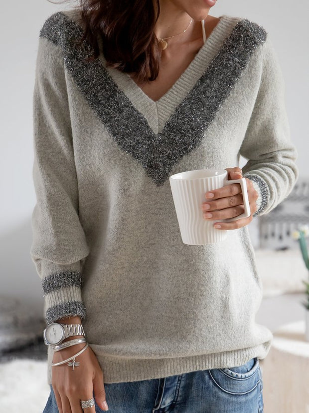 Gray Patchwork Long Sleeve Sweater