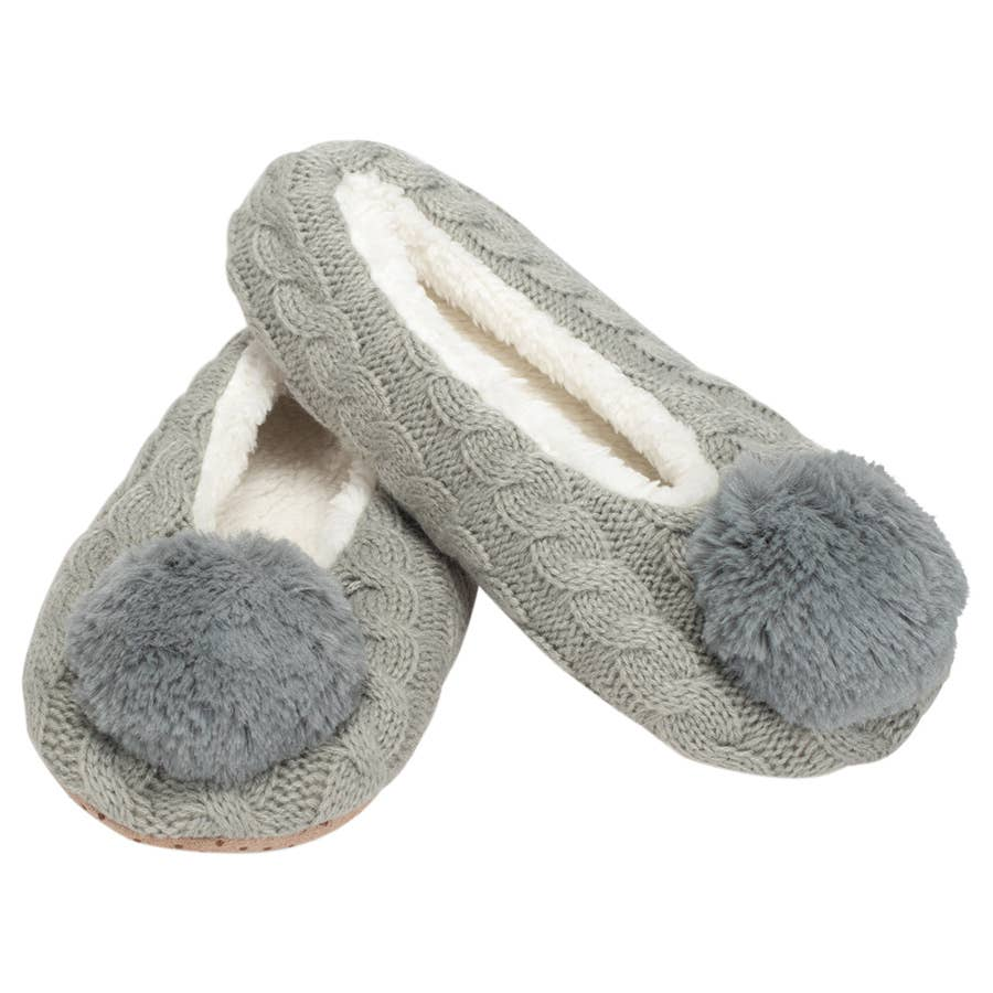 Grey Knit Pom Non-Slip Indoor Soft Slipper Medium
