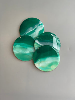 Round Emerald Seascape Wooden Coasters