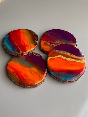 California Sunset Coasters - Set of 4 on wood