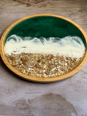Bamboo Wood Tray - Mother of Pearl Textured
