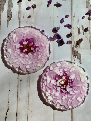 Drink Coasters - Purple Peonies