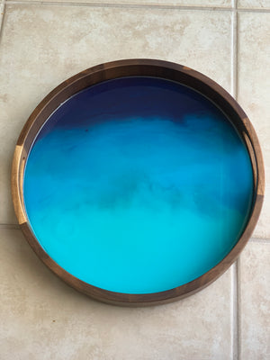 Acacia Wood Resin Tray - Blues