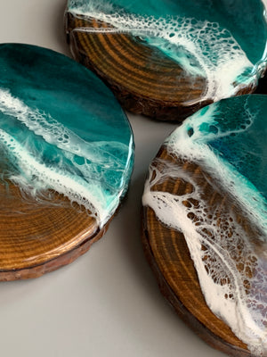 Emerald Seascape Wooden Coasters