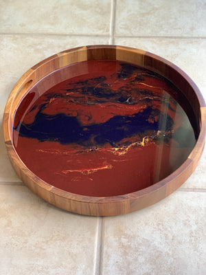 Acacia Wood Resin Tray - Maroon & Deep Blue