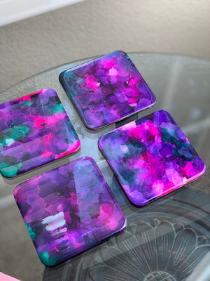 Drink Coasters - Floral Ink Coasters