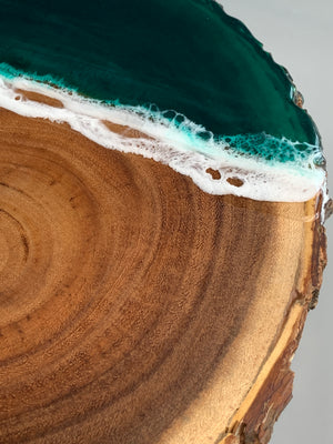 Wooden Live Edge Emerald Serving Board