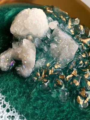 "Custom Order: Ring Dish - 10x4"" - Emerald Beach with Crystals"