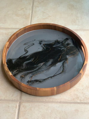 Acacia Wood Resin Tray - Grey