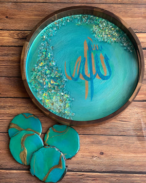 Calligraphy Acacia Resin Tray with Coasters- Islamic Art