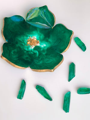 Emerald Floral Jewelry/Decorative Dishes