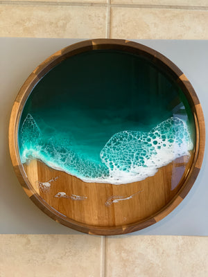EMERALD ISLAND Acacia Wood Resin Tray with Set of 4 Matching Coasters