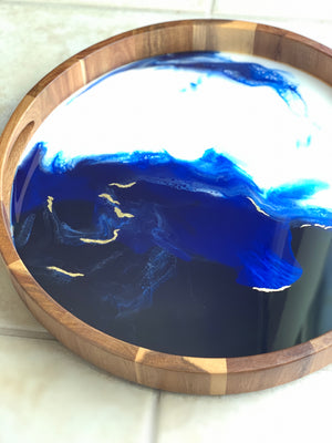 Acacia Wood Resin Tray - White & Blue