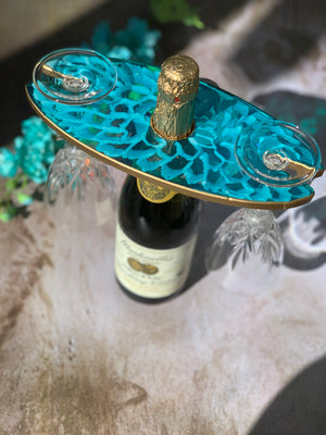 3D Floral Wine Glass Caddy - Dahlia Turquoise