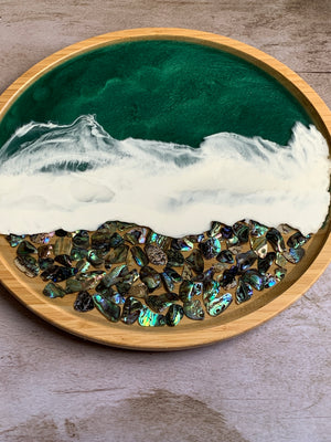 Bamboo Wood Tray - Paua Shells